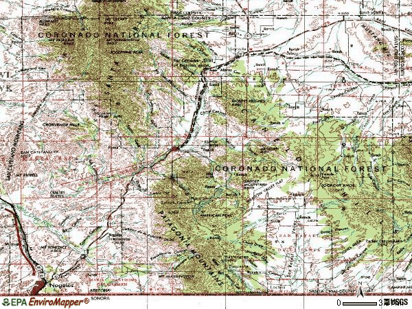Zip code 85624 topographic map
