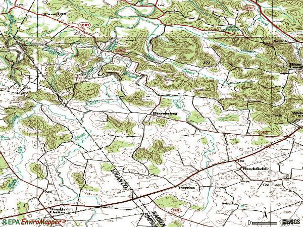 Zip code 42274 topographic map