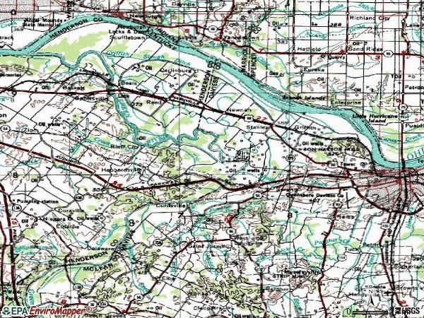 Zip code 42301 topographic map