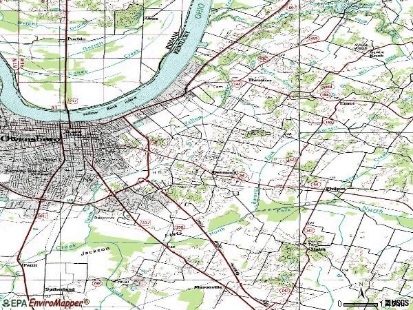 Zip code 42303 topographic map
