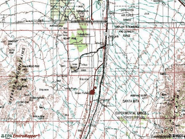 Zip code 85629 topographic map