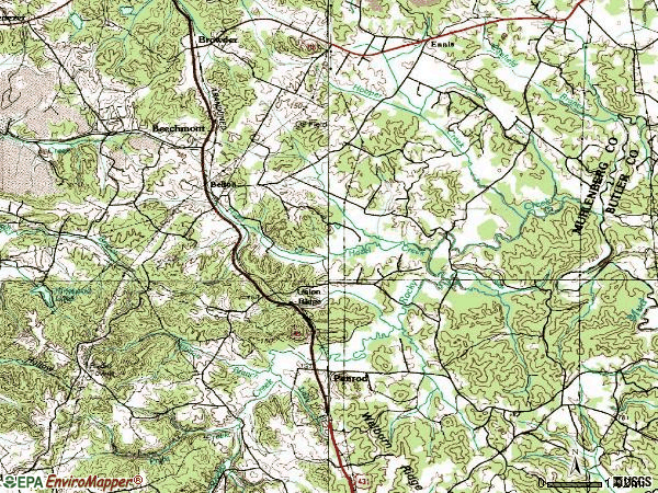 Zip code 42324 topographic map