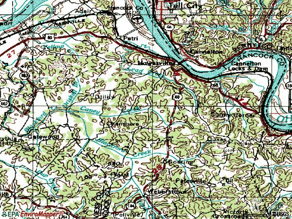 Zip code 42348 topographic map
