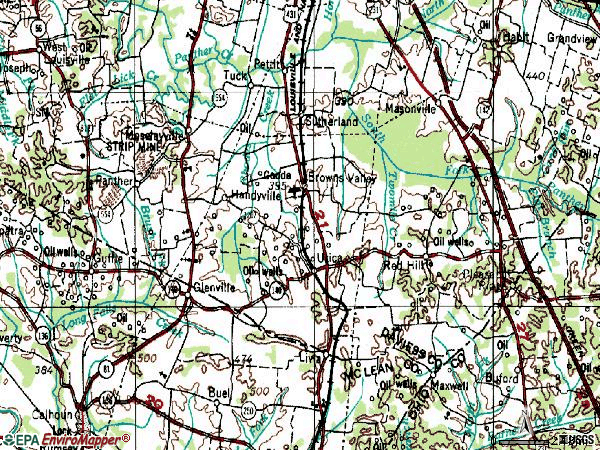 Zip code 42376 topographic map