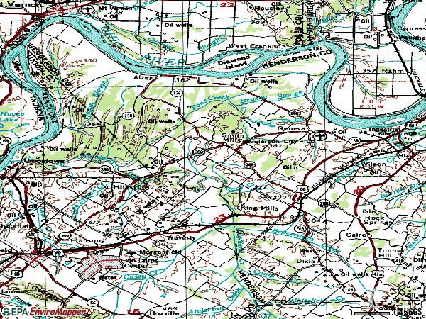 Zip code 42406 topographic map