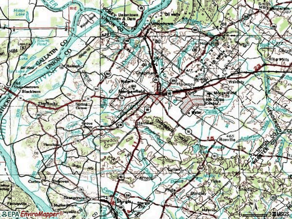 Zip code 42437 topographic map