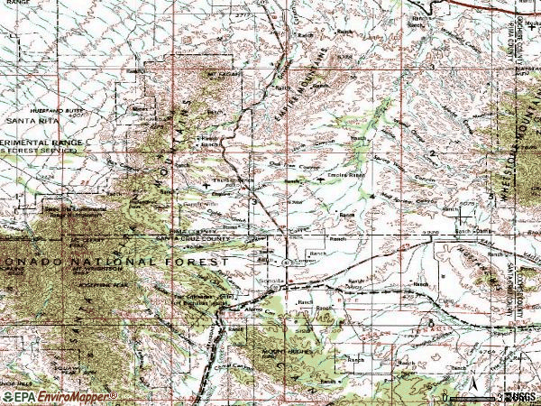 Zip code 85637 topographic map
