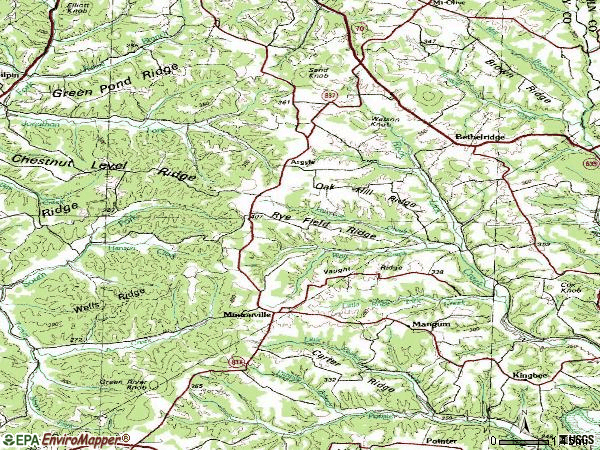 Zip code 42516 topographic map