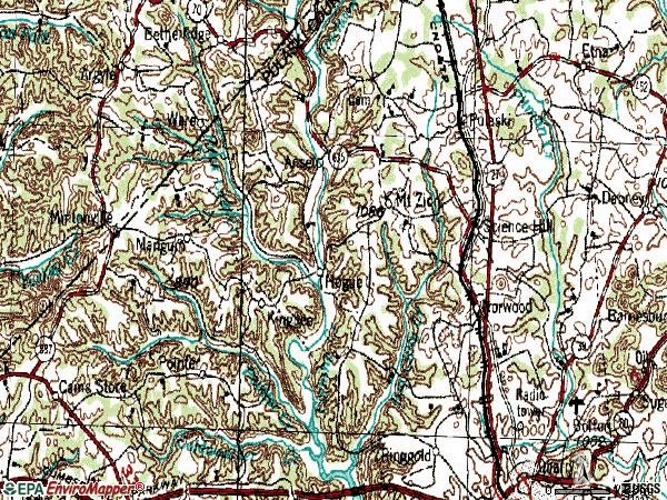 Zip code 42553 topographic map