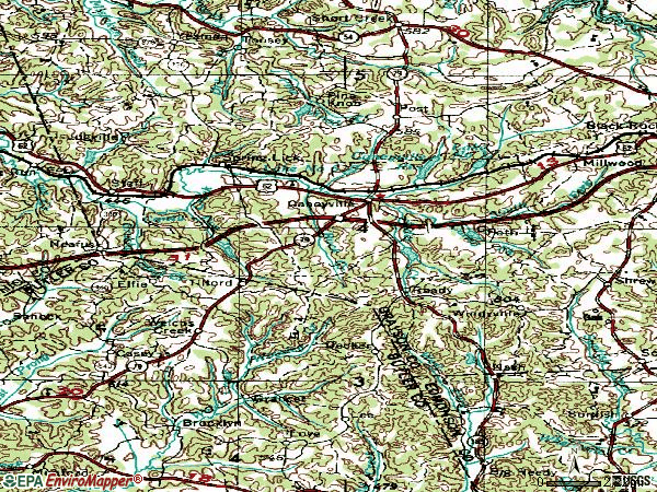 Zip code 42721 topographic map