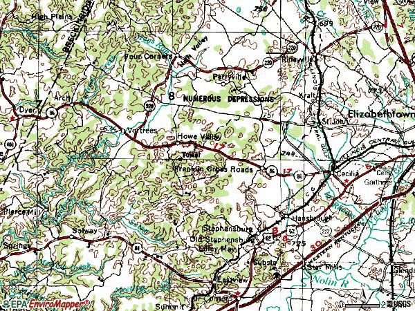 Zip code 42724 topographic map