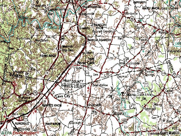 Zip code 42749 topographic map