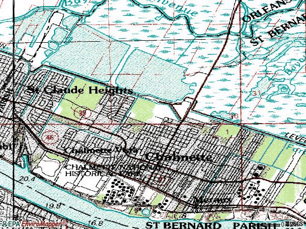 Zip code 70043 topographic map