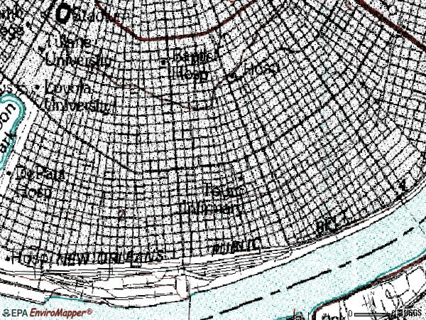 Zip code 70115 topographic map