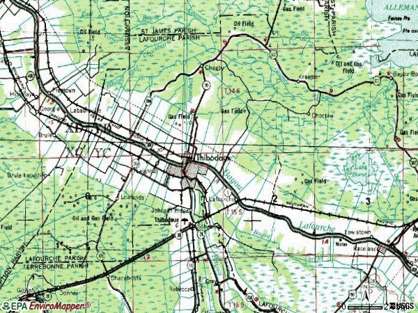 Zip code 70301 topographic map