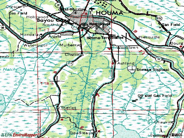 Zip code 70363 topographic map