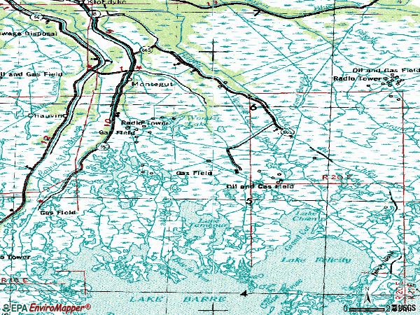 Zip code 70377 topographic map