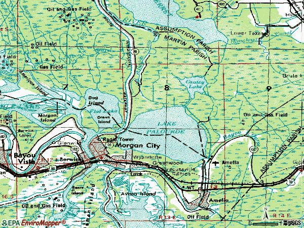 Zip code 70380 topographic map