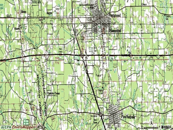Zip code 70403 topographic map