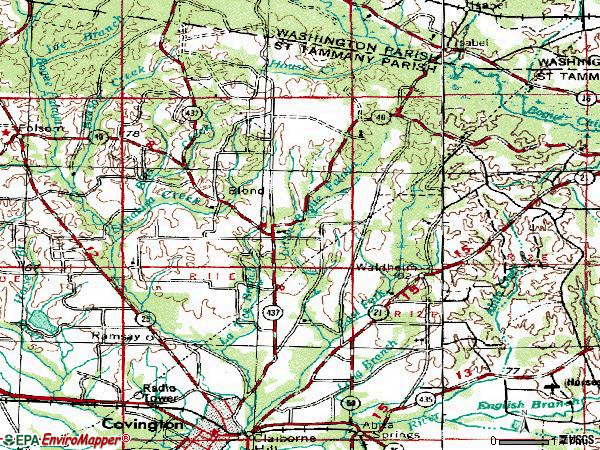 Zip code 70435 topographic map