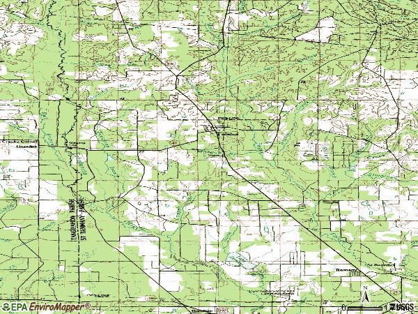Zip code 70437 topographic map