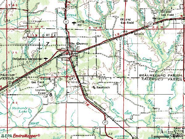 Zip code 70633 topographic map