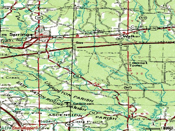 Zip code 70726 topographic map
