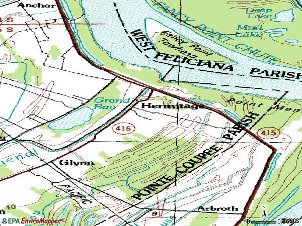 Zip code 70736 topographic map