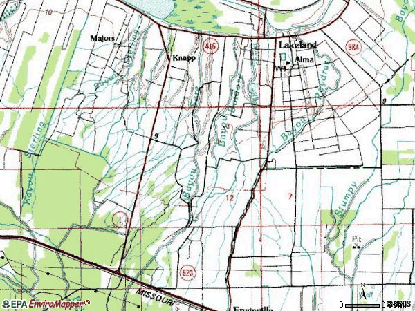 Zip code 70752 topographic map