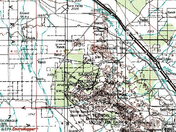 Zip code 85743 topographic map