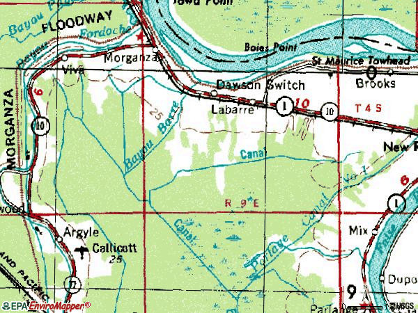 Zip code 70759 topographic map