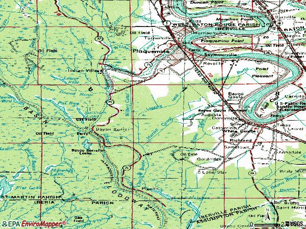 Zip code 70764 topographic map