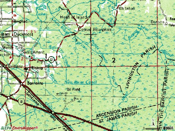 Zip code 70774 topographic map