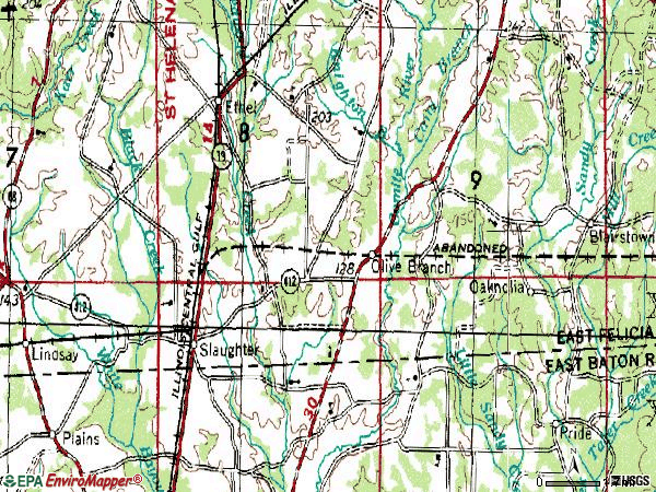 Zip code 70777 topographic map