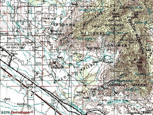 Zip code 85747 topographic map