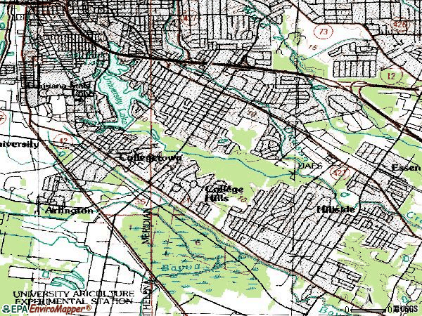 Zip code 70808 topographic map
