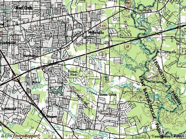 Zip code 70816 topographic map