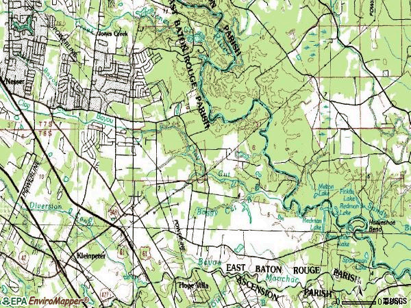 Zip code 70817 topographic map