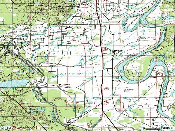 Zip code 71004 topographic map