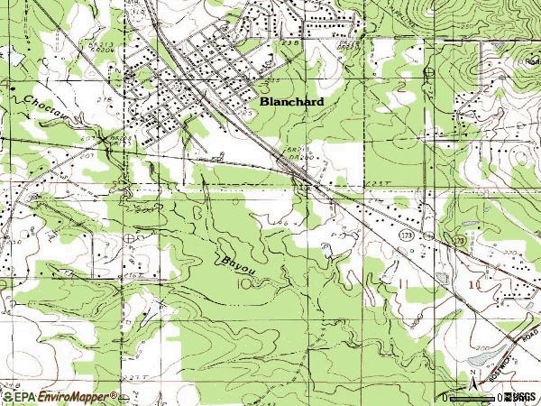 Zip code 71009 topographic map