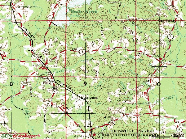 Zip code 71016 topographic map