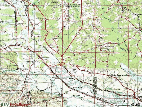 Zip code 71019 topographic map