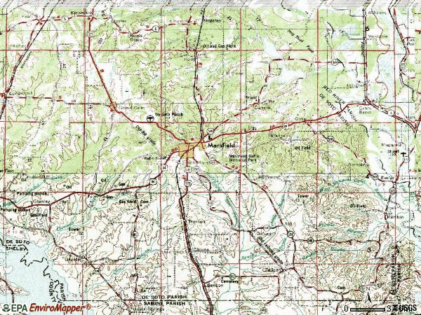 Zip code 71052 topographic map