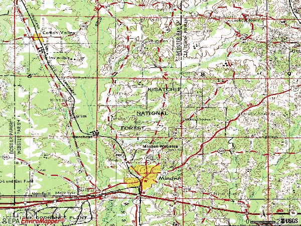 Zip code 71055 topographic map