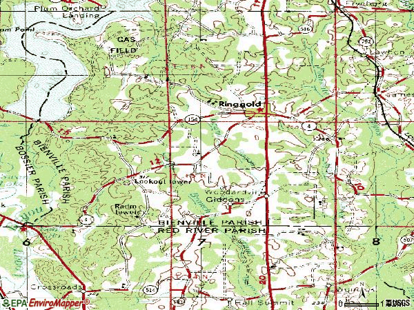 Zip code 71068 topographic map