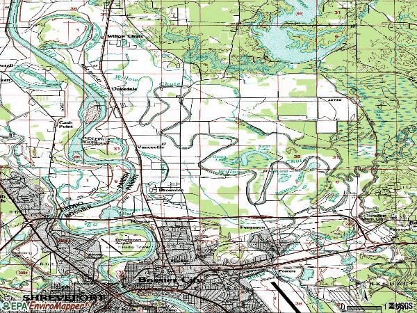 Zip code 71111 topographic map