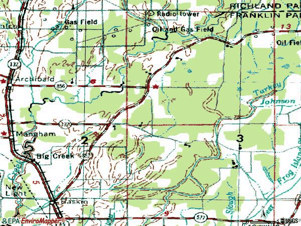 Zip code 71219 topographic map