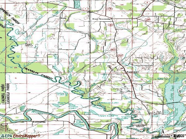 Zip code 71243 topographic map