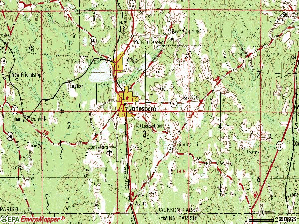 Zip code 71251 topographic map