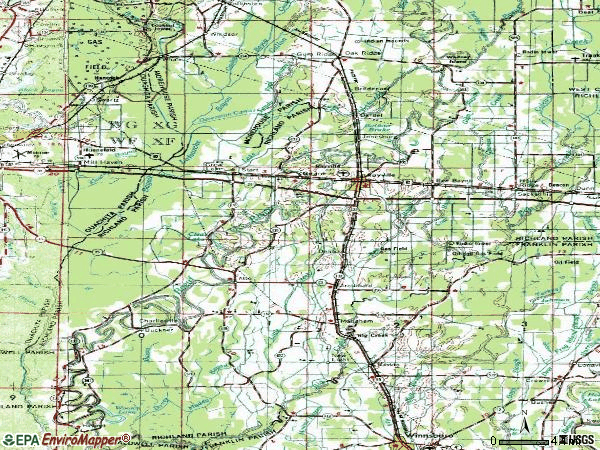 Zip code 71269 topographic map